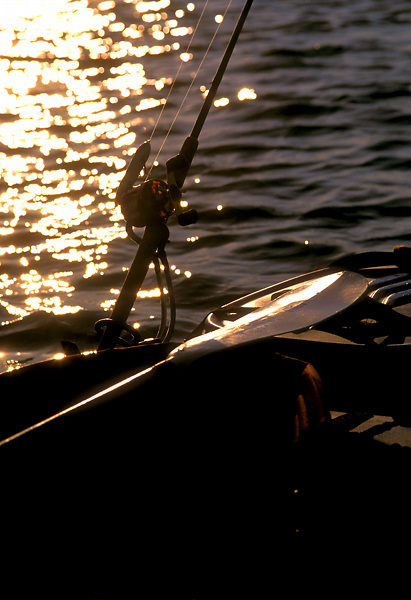 Stock photo of a fishing rod secured to the back of a boat