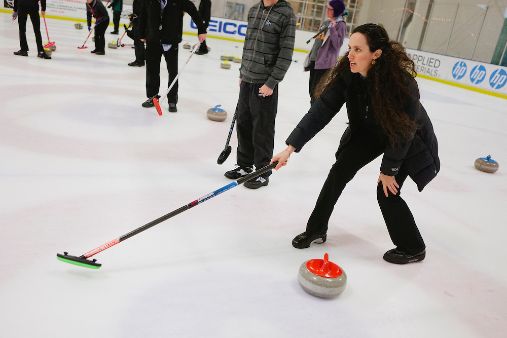 Gabrielle Coleman of Mountain View directs her team during the San Francisco Bay Area Curling Club's Tuesday night league at Sharks Ice in San Jose on Jan.15, 2013.