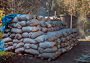 Wypalanie węgla drzewnego w Bieszczadach w okolicach Łopieńki. Zworkowany węgiel drzewny.