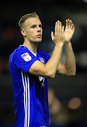 Birmingham City's Marc Roberts applauds the home support