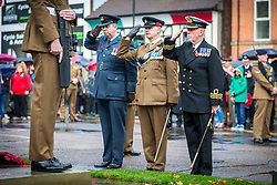 © Licensed to London News Pictures. 11/11/2018. Doncaster UK. Wreaths are laid at the Service of remembrance at the Cenotaph in Doncaster to mark the 100th anniversary of the end of the First World War. Photo credit: Andrew McCaren/LNP