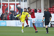 Chris Clements and Ebou Adams  during the The FA Cup 1st round match between Ebbsfleet and Cheltenham Town at Stonebridge Road, Ebsfleet, United Kingdom on 10 November 2018.