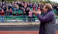 Photo: Alan Crowhurst.<br />Brighton & Hove Albion v Stoke City. Coca Cola Championship. 30/04/2006. Stoke coach Johan Boskamp thanks the Stoke fans.