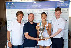 LIVERPOOL, ENGLAND - Sunday, June 24, 2018: Corinna Dentoni (ITA) with Tournament director Anders Borg and BMW sponsors Chris Woods (l) and Nick Bannon-Thomas during day four of the Williams BMW Liverpool International Tennis Tournament 2018 at Aigburth Cricket Club. (Pic by Paul Greenwood/Propaganda)