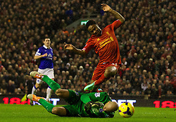 28.01.2014, Anfield, Liverpool, ENG, Premier League, FC Liverpool vs FC Everton, 23. Runde, im Bild Liverpool's Daniel Sturridge, action against Everton // during the English Premier League 23th round match between Liverpool FC and Everton FC at Anfield in Liverpool, Great Britain on 2014/01/29. EXPA Pictures © 2014, PhotoCredit: EXPA/ Propagandaphoto/ David Rawcliffe<br /> <br /> *****ATTENTION - OUT of ENG, GBR*****