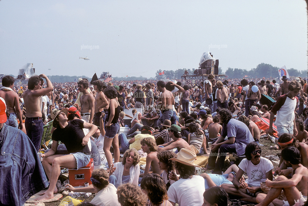 The Grateful Dead Concert at Raceway Park, Englishtown NJ on 3 September 1977. Labor Day Weekend. Fans and Deadheads before the Marshall Tucker Band. This shot is inside the venue.