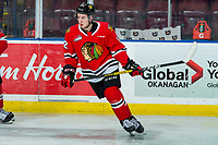 KELOWNA, BC - FEBRUARY 8: Reece Newkirk #12 of the Portland Winterhawks warms up against the Kelowna Rockets at Prospera Place on February 8, 2020 in Kelowna, Canada. Newkirk was selected in the 2019 NHL entry draft by the New York Islanders. (Photo by Marissa Baecker/Shoot the Breeze)