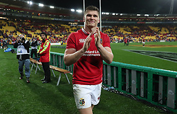 British and Irish Lions Owen Farrell celebrates after the second test of the 2017 British and Irish Lions tour at Westpac Stadium, Wellington.