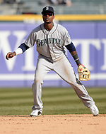 CHICAGO - APRIL 06:  Tim Beckham #1 of the Seattle Mariners fields against the Chicago White Sox on April 6, 2019 at Guaranteed Rate Field in Chicago, Illinois.  (Photo by Ron Vesely)  Subject:  Tim Beckham
