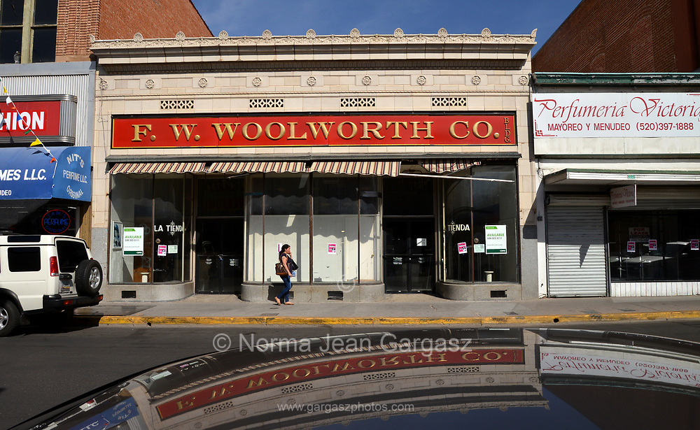 An F. W. Woolworth Co., department sits closed in downtown, Nogales, Arizona, USA.