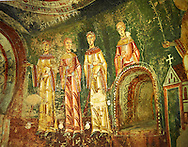 Eleventh Century Romanesque frescoes of the side Apse of Sant Quirze de Pedret showing the parabel of the Ten Virgins from the Gospel of St. Matthew. The church of Sant Quize de Padret, Cercs, Bergueda, Sapin. National Art Museum of Catalonia, Barcelona. MNAC 15973 .<br /> <br /> If you prefer you can also buy from our ALAMY PHOTO LIBRARY  Collection visit : https://www.alamy.com/portfolio/paul-williams-funkystock/romanesque-art-antiquities.html<br /> Type -     MNAC     - into the LOWER SEARCH WITHIN GALLERY box. Refine search by adding background colour, place, subject etc<br /> <br /> Visit our ROMANESQUE ART PHOTO COLLECTION for more   photos  to download or buy as prints https://funkystock.photoshelter.com/gallery-collection/Medieval-Romanesque-Art-Antiquities-Historic-Sites-Pictures-Images-of/C0000uYGQT94tY_Y