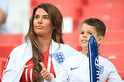Rebekah Vardy in the stands ahead of the FIFA World Cup 2018, round of 16 match at the Spartak Stadium, Moscow. PRESS ASSOCIATION Photo. Picture date: Tuesday July 3, 2018. See PA story WORLDCUP England. Photo credit should read: Adam Davy/PA Wire. RESTRICTIONS: Editorial use only. No commercial use. No use with any unofficial 3rd party logos. No manipulation of images. No video emulation
