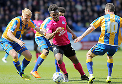 Shaquile Coulthirst of Peterborough United is closed down by the Shrewsbury Town defence - Mandatory by-line: Joe Dent/JMP - 30/04/2016 - FOOTBALL - New Meadow - Shrewsbury, England - Shrewsbury Town v Peterborough United - Sky Bet League One