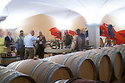 barrel aging cellar people tasting dom g robin crozes hermitage rhone france