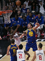 October 30, 2017 - Los Angeles, California, U.S - Zaza Pachulia #27 of the Golden State Warriors makes a basket during their NBA game with the Los Angeles Clippers on Monday October 30, 2017 at the Staples Center in Los Angeles, California. Clippers v Warriors. Clippers lose to Warriors, 141-113. (Credit Image: © Prensa Internacional via ZUMA Wire)