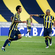 Fenerbahce's Cristian Oliveira BARONI (L) celebrate his goal during their Turkish superleague soccer match Fenerbahce between Orduspor at the Sukru Saracaoglu stadium in Istanbul Turkey on Monday 12 September 2011. Fenerbahce played spectators match through suspension. Photo by TURKPIX