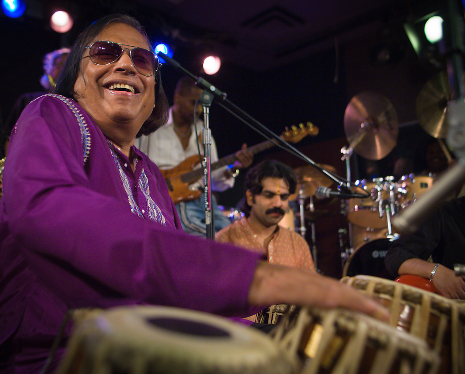"""Badal Roy and other musicians performing at The Iridium during a """"Miles from Jazz"""" performance."""