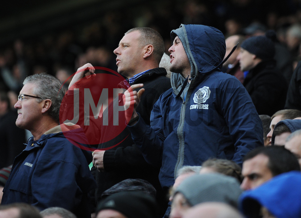 Everton fans shout abuse at Liverpool's Luis Suarez - Photo mandatory by-line: Dougie Allward/JMP - Tel: Mobile: 07966 386802 23/11/2013 - SPORT - Football - Liverpool - Merseyside derby - Goodison Park - Everton v Liverpool - Barclays Premier League