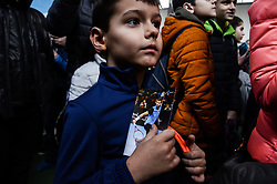 January 28, 2018 - Haskovo, Sofia, Bulgaria - A little boy hold a postcard with Grigor Dimitrov and wait for his signature. Bulgaria's Grigor Dimitrov gives open tennis lessons to children at his hometown of Haskovo, Bulgaria before the DIEMA XTRA Sofia Open 2018. Hundreds children and fans comes to the town central tenis court to receive signature and to take a picture with the 3rd of world men's tennis, Haskovo, Bulgaria on January 28, 2018  (Credit Image: © Hristo Rusev/NurPhoto via ZUMA Press)