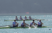 Aiguebelette, FRANCE.  GBR LM4- bow. Peter CHAMBERS, Mark ALDRED, Richard CHAMBERS and Chris BARTLEY, in the final strokes of their semi-final to qualify for Sundays final, at the  2014 FISA World Cup II, 09:50:56  Saturday  21/06/2014. [Mandatory Credit; Peter Spurrier/Intersport-images]