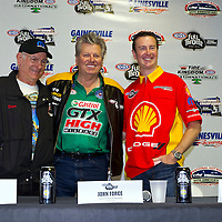 GAINESVILLE, FL - MAR 10, 2011:  Don Garlit, Funny Car Champion John Force (1), and NASCAR Sprint Cup Champion, Kurt Busch (201), take questions from the media during the Tire Kingdom Gatornationals race at the Gainesville Raceway in Gainesville, FL.