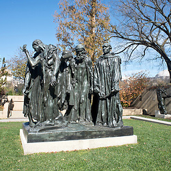The Burghers of Calais, a sculpture by French artist Auguste Rodin is installed in the Hirshhorn scultpure garden on the national mall in Washington, DC.