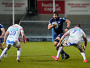 Sale Sharks lock Lood De Jager runs at Exeter Chiefs flanker Jacques Vermeulen during a Gallagher Premiership Round 11 Rugby Union match, Friday, Feb 26, 2021, in Eccles, United Kingdom. (Steve Flynn/Image of Sport)