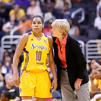 19 June 2014: Los Angeles Sparks head coach Carol Ross talks to Los Angeles Sparks guard Lindsey Harding (10) during the Los Angeles Sparks 87-77 victory over the Tulsa Shock, at the Staples Center, Los Angeles, California, USA.
