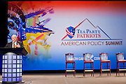 26 FEBRUARY 2011 - PHOENIX, AZ: RUSSELL PEARCE, a Republican and President of the Arizona State Senate, talks about undocumented immigration at the Tea Party Patriots American Policy Summit in Phoenix Saturday. Pearce is a fierce opponent of undocumented immigration who authored Arizona's SB1070 in 2010. He has been connected to neo-Nazi and extremist hate groups. The summit goes through Sunday Feb. 27. About 2,000 people are attending the event, which organizers said is meant to unite Tea Party groups across the country. Speakers include former Minnesota Governor Tim Pawlenty, Texas Congressman Ron Paul, former Clinton advisor Dick Morris and conservative blogger Andrew Brietbart. The event ends with a presidential straw poll Sunday.   Photo by Jack Kurtz