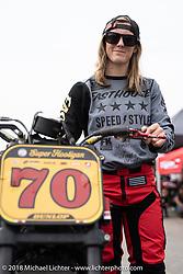 Freestyle Kings' Vicki Golden raced a Harley-Davidson for Suicide Machine at the RSD Moto Beach Classic. Huntington Beach, CA, USA. Sunday October 28, 2018. Photography ©2018 Michael Lichter.