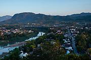 High angle view of Luang Prabang and the Nam Khan River, Laos, from Mount Phousi.
