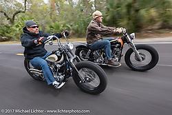 Bryan Lane (L) of Waxhaw, NC riding his custom 1947 custom Harley-Davidson Knucklehead bobber alongside Eric Stein on his 1964 custom Harley-Davidson Panhead in Tomoka State Park during Daytona Beach Bike Week. FL. USA. Tuesday, March 14, 2017. Photography ©2017 Michael Lichter.