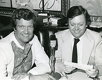1978 Radio commentator and interviewer, Gregg Hunter, seen interviewing pianist, Phillipe Entremont, during his KIEV radio show at the Brown Derby Restaurant on Vine St. in Hollywood