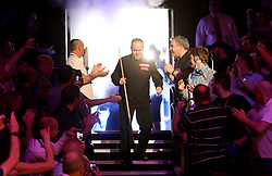 John Higgins enters The Crucible for the final evening on day seventeen of the 2018 Betfred World Championship at The Crucible, Sheffield.