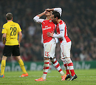 Arsenal's Alex Oxlade-Chamberlain looks on dejected after his shot hits the bar<br /> <br /> UEFA Champions League- Arsenal vs Borussia Dortmund- Emirates Stadium - England - 26th November 2014 - Picture David Klein/Sportimage