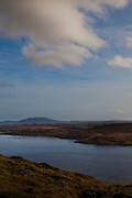 The view of the Altantic Ocean from the Sky Road, near Clifden, Connemara, Galway, Ireland. The body of water pictured leads to the town of Clifden.