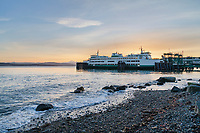 San Juan Islands Ferry docked at sunrise in Guemes Channel Anacortes Washington