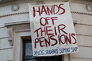 Protest by students at Slade Scool of Fine Art in solidarity with university lecturers to protect their pensions on 22nd February 2018 in London, England, United Kingdom.