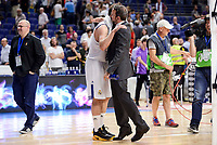 Real Madrid's Sergio Llull and Unicaja Malaga's coach Joan Plaza during semi finals of playoff Liga Endesa match between Real Madrid and Unicaja Malaga at Wizink Center in Madrid, May 31, 2017. Spain.<br /> (ALTERPHOTOS/BorjaB.Hojas)