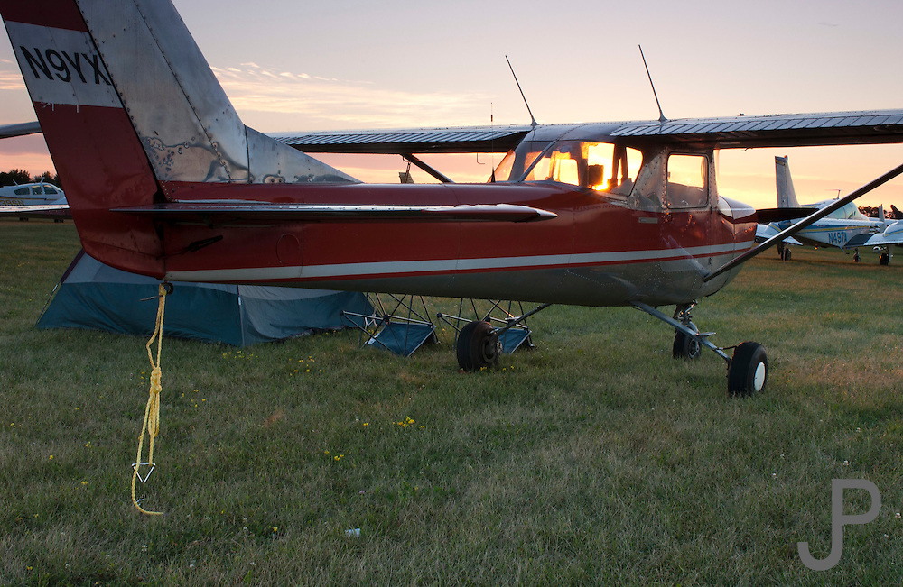 Cessna 150 camping at EAA Airventure in Oshkosh, WI