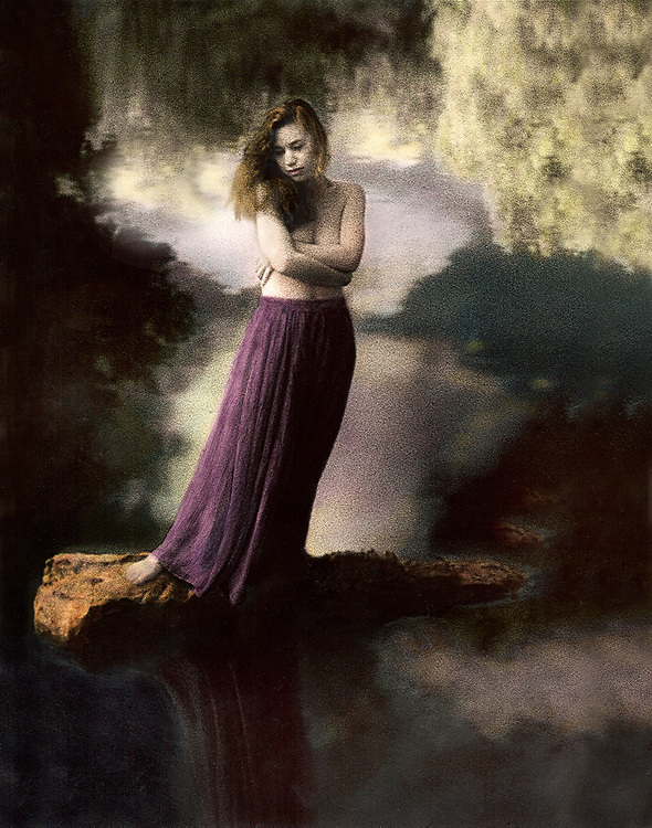 Environmental portrait photographed with infrared film, sepia toned and hand colored on fiber based paper