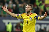 ROMANIA, Bucharest : Romania's Razvan Rat reacts during the Euro 2016 Group F qualifying football match Romania vs Northern Ireland in Bucharest, Romania on November 14, 2014.