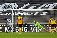 Goal 2-3 Matheus Pereira (12) of West Bromwich Albion scores from the penalty spot during the Premier League match between Wolverhampton Wanderers and West Bromwich Albion at Molineux, Wolverhampton, England on 16 January 2021.