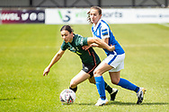 Lucy Quinn of Tottenham Hotspur Women battles for possession during the FA Women's Super League match between BIrmingham City Women and Tottenham Hotspur Women at Solihull Moors FC, Solihull, United Kingdom on 9 May 2021.
