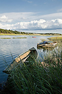 A dory floats in the calm waters of Duck Creek in Wellfleet.