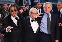 Al Pacino, Martin Scorsese and Robert de Niro attending the Closing Gala and International premiere of The Irishman, held as part of the BFI London Film Festival 2019, London. Photo credit should read: Doug Peters/EMPICS