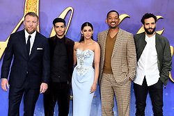 Director and cast (left-right) Guy Ritchie, Mena Massoud, Naomi Scott, Will Smith and Marwan Kenzari attending the Aladdin European Premiere held at the ODEON Luxe Leicester Square, London