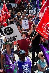 Rally in Leeds City centre supporting public sector pay demands, 10 July 2014
