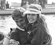 London, GREAT BRITAIN, Oxford University Boat Club [OUBC] cox Sue BROWN carried on to shore at Quintin Boat Club Chiswick after winning the 1982 Varsity Boat Races, Championship Course Putney to Mortlake.  [Mandatory Credit. Peter Spurrier/Intersport Images] 1982 University Boat Race,