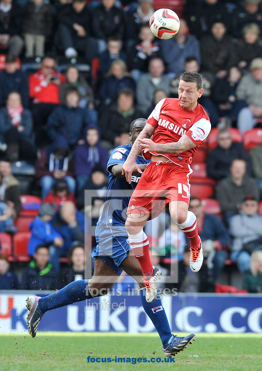 Picture by Alan Stanford/Focus Images Ltd +44 7915 056117.27/04/2013.Charlie MacDonald of Leyton Orient wins the header during the npower League 1 match at the Matchroom Stadium, London.. .